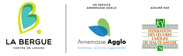 Logos du centre de Loisirs La Bergue, d'Annemasse Agglo et de la Fédération des Œuvres Laïques de Haute-Savoie
